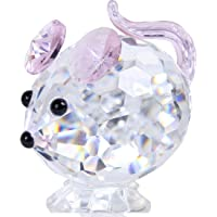 HDCRYSTALGIFTS Pink Mouse Tiny Crystal Figurines Clear Glass Art Pet Animals Collectible Gift Home Decor