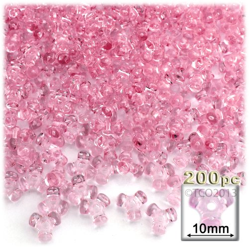 The Crafts Outlet 1000-Piece Plastic Transparent Tri Beads, 10mm, Pink