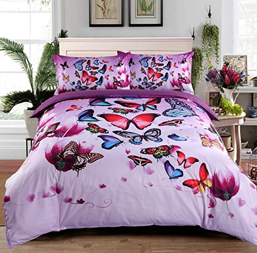 Ammybeddings 4 Piece 3D Colorful Butterfly&Flower Bedding Sets Digital Print Duvet Cover with 2 Pillow Shams and 1 Sheet Luxury Soft Stylish Dreamy Decor Duvet Cover Set (King, Purple - 1 Sheet Flowers