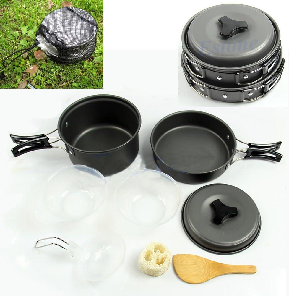 8Pcs Set Portable Outdoor Cooking Camping Hiking Cookware Picnic Bowl Pot Pan MY
