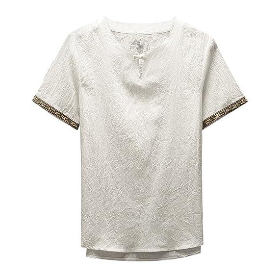 Gusspower Camisas De Lino Tradicionales para Hombres Manga Corta con Cuello  En V Casual Blusa Suelta 9179b9e43755a