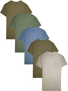 Fruit of the Loom Mens 4-Pack Pocket Crew-Neck T-Shirt Burnt Orange Small