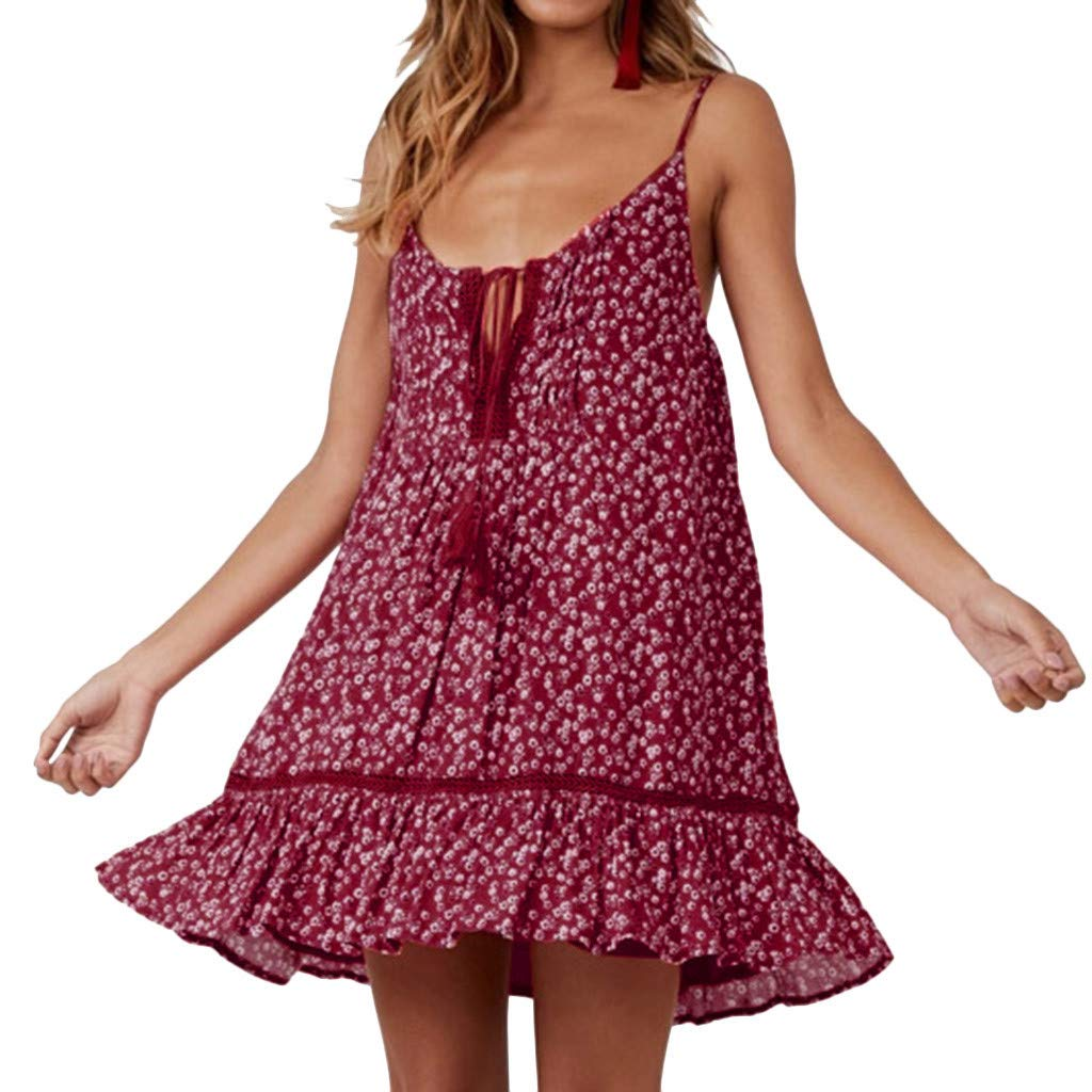 Short Floral Print Dress ✔ Hypothesis/_X ☎ Sleeveless Casual Mini Dress Tassel Off Shoulder Dress Boho Swing Dresses