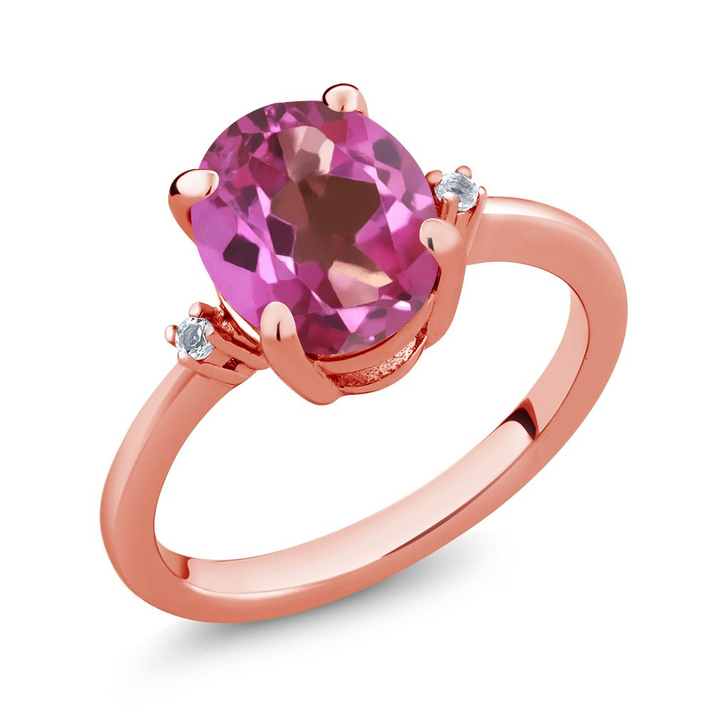 2.73 Ct Oval Pink Mystic Topaz White Diamond 18K Rose Gold Plated Silver Ring