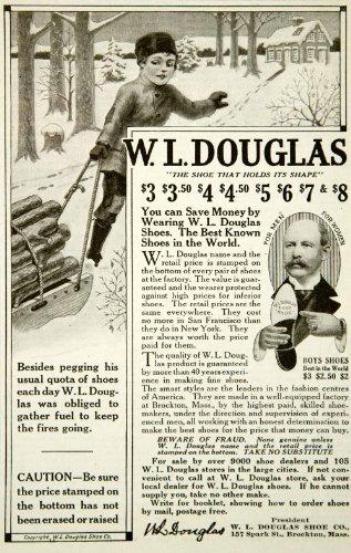 Spark Footwear (1917 Ad W. L. Douglas Shoe Child Boy Firewood Footwear 157 Spark St. Brockton - Original Print Ad)