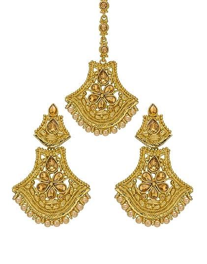 Engagement & Wedding Bindhani Indian Wedding Head Gold Plated Jewelry Maang Tikka Earrings For Women