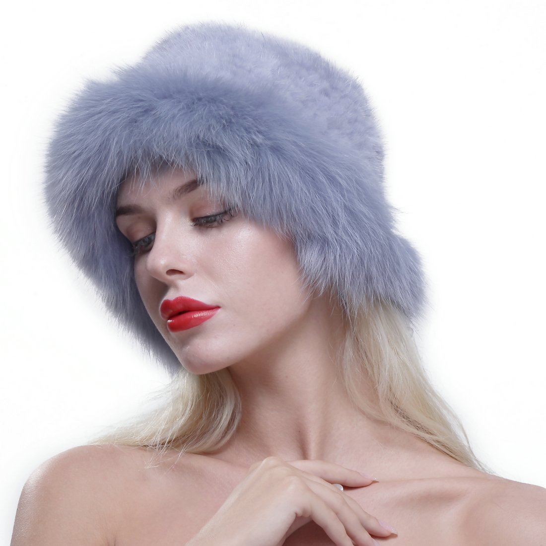 URSFUR Genuine Fox Fur Roller Hat with Knit Mink Top Sapphire by URSFUR (Image #2)