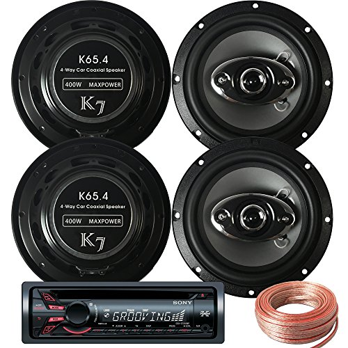 Sony Package - Sony CDX-GT320MP In-Dash CD/MP3/AM/FM Receiver + 2 Pairs K65.4 6.5-inch 400W 4-Way Speakers + 100ft Speaker Wire (Sony Car Stereo Bundle compare prices)