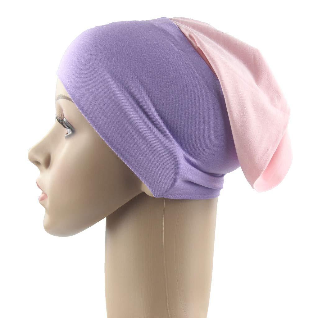 DDKK/_Hat Multifunctional Baggy Slouchy Stretch Muslim Turban Beanie Chemo Cap for Women Yoga Workout Running Athletic Travel