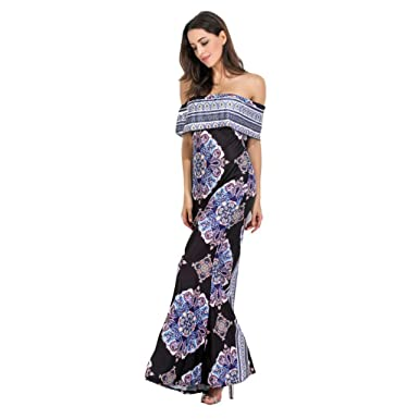 2c2f3dbdbbf0a Amazon.com: Women Long Bohemian Dress Sexy Sleeveless Off Shoulder ...