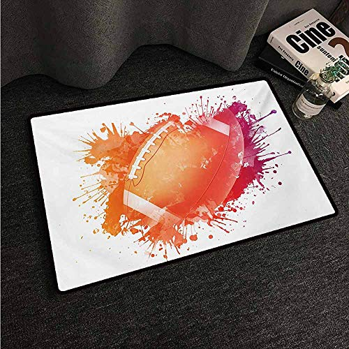 Red Lion Solid Rugby - HCCJLCKS Washable Doormat Sports Rugby Ball in Digital Watercolors Splash Recreational Leisure Sports Run Design Suitable for Outdoor and Indoor use W35 xL59 Orange Red