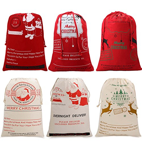 HOOPLE X'mas Present Sacks Christmas Bags for Kids Personalize Christmas Gift Wrap Santa Sacks (Random-6 packs) by Hoople (Image #3)