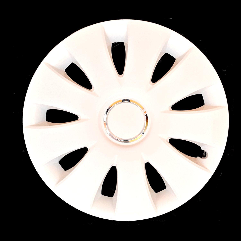 Markenlos-Juego de tapacubos 4 unidades, para ruedas, blancos con Anillo de plata, 15