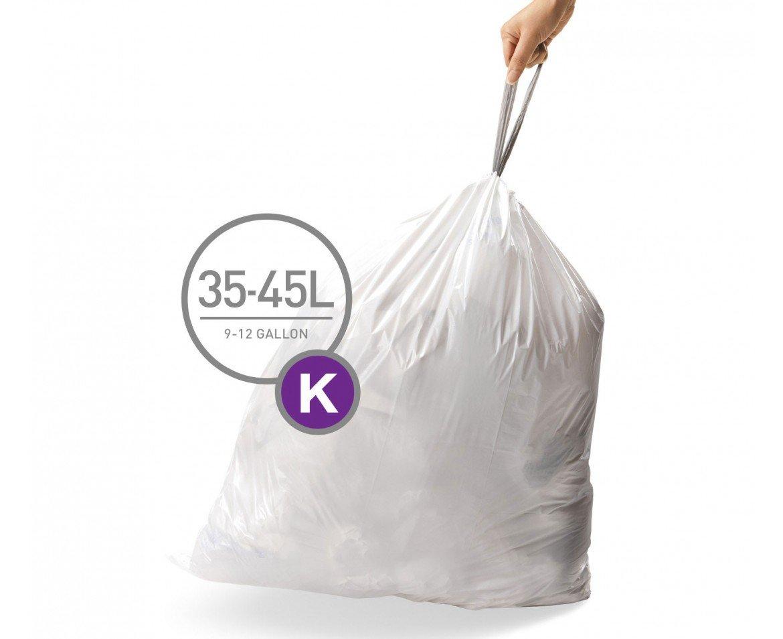 simplehuman Code K Custom Fit Liners, Tall Kitchen Drawstring Trash Bags, 35-45 Liter / 9.3-11.9 Gallon, 3 Refill Packs (60 Count) by simplehuman