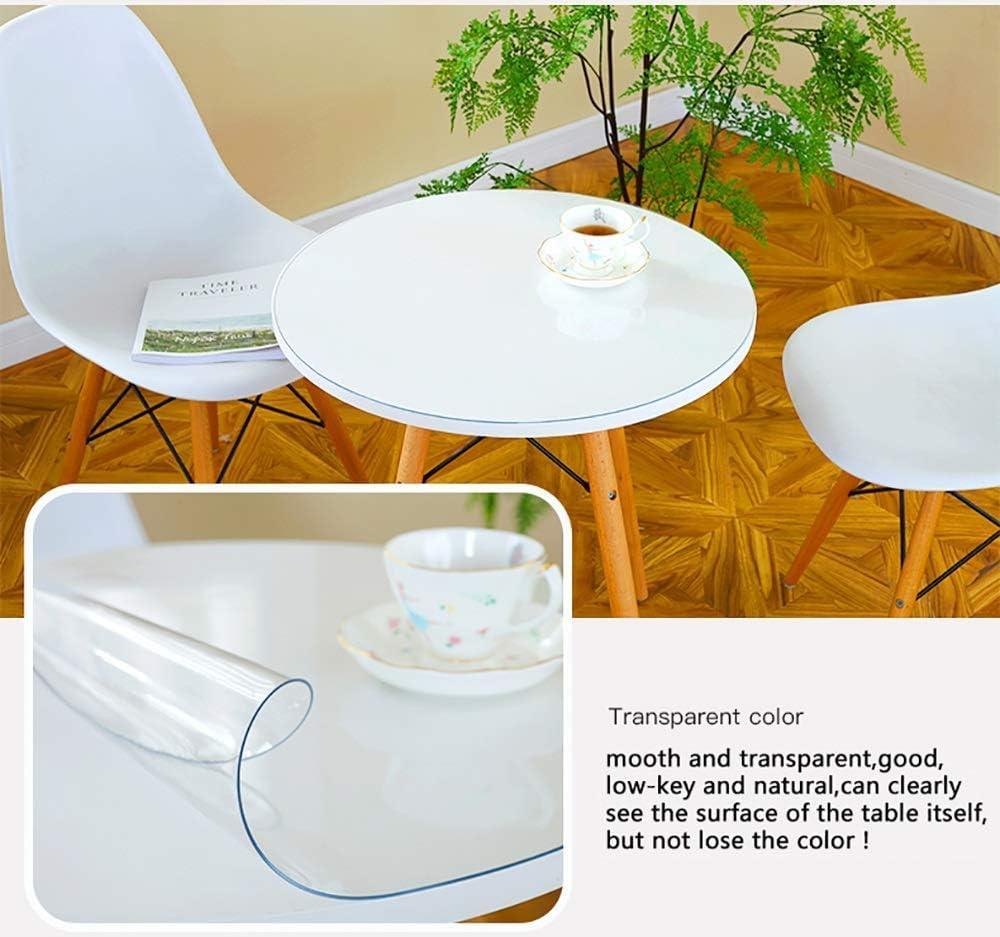 SED Cubierta de Mesa Redonda para el hogar, Mantel de plástico Transparente de Color sólido Simple Protector de Mesa Cubierta de Muebles de círculo PVC Comedor de Mesa Sobremesa para el Escritorio Al