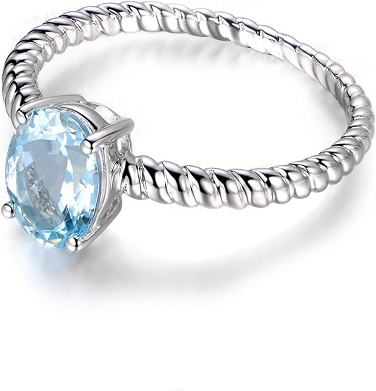 AMDXD Jewelry 925 Sterling Silver Promise Ring Girl Round Cut Topaz Round Rings
