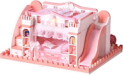 Amazon Com Diy Miniatures Dollhouse Kits 1 24 Scale Simple Castle Model Building For Beginner Easy To Assemble Cute Furniture Accessories Toys Mini Pink Princess Bedroom With Music Box Dust Cover