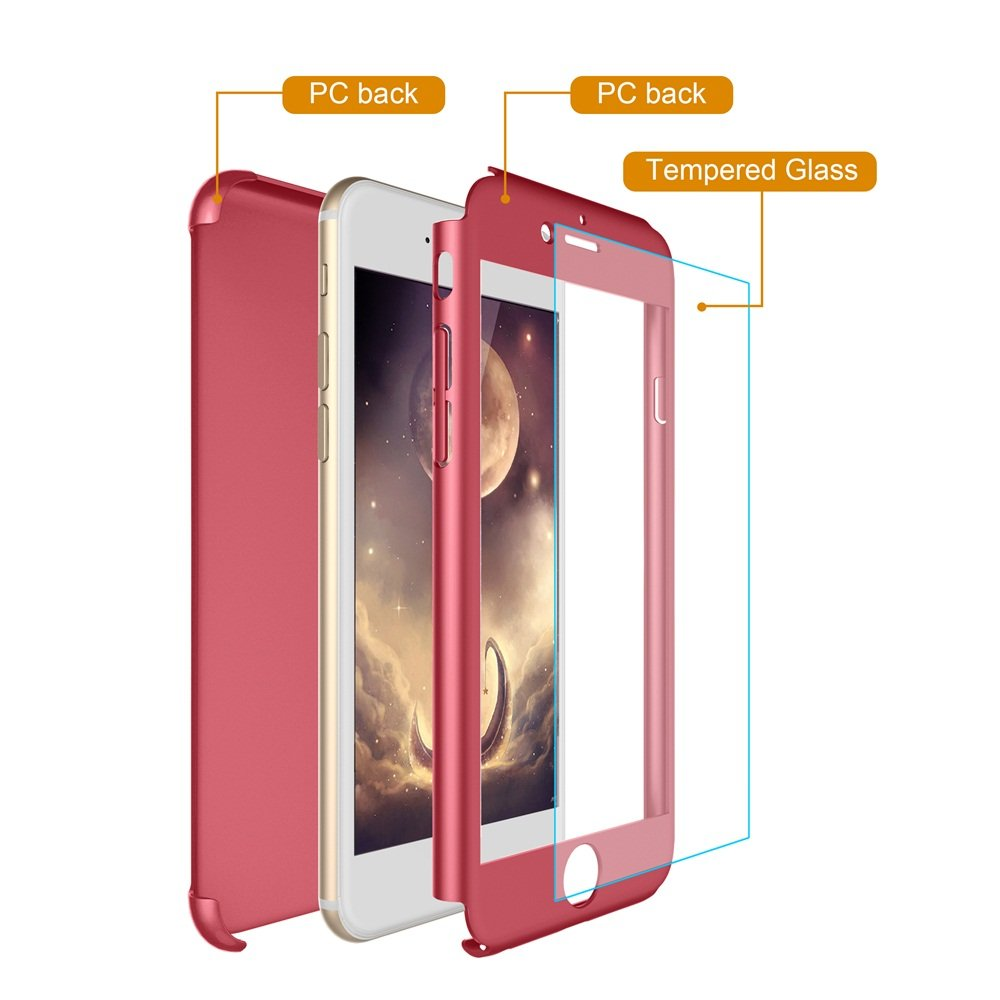 iphone 7 Plus Case,Egrace Full Body Coverage Protection Case, Ultra Thin Hybrid Case Cover with Tempered Glass Screen Protector for iphone 7 Plus (5.5 inch) (Red)