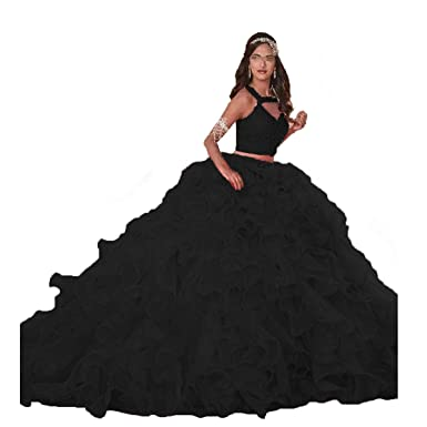 ec78d3315ea Dimei Gorgeous Heavy Beaded Ruffles Quinceanera Dresses Two Piece Organza Ball  Gowns Black
