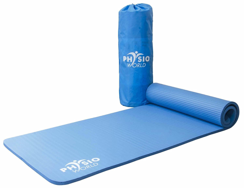 PhysioWorld - Esterilla de deporte, colchoneta de fitness / entrenamiento de espuma NBR para Pilates, Gimnasio, Yoga, Ejercicio, color azul