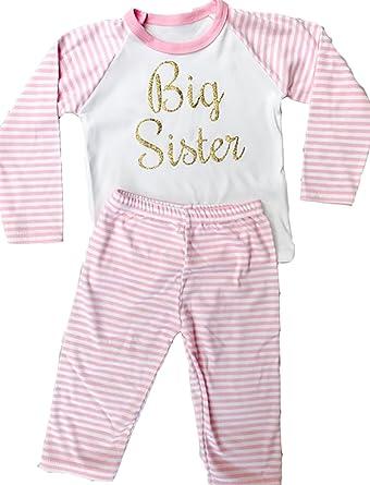 522c59167d Little Secrets Clothing Girls Big Sister Pink White Striped Pyjamas (6-12  Months)