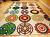 Kids Rug Playroom Rugs 7x10 Contemporary White Yellow Green Orange Carpet Soft Area Rugs 6x9 Blue Modern Circles Area Rug Child Rug (Large 7x10)