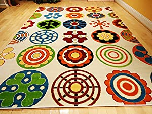 Perfect Kids Rug Playroom Rugs 4u0027x6u0027 Contemporary White Yellow Green Orange Carpet  Soft Area Rugs 4x6 Blue Modern Circles Kids Rugs Area Rug Child Rug (Medium  4x6)