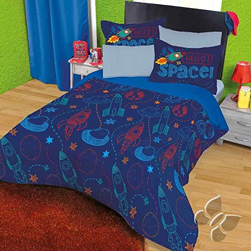 Cheap JORGE'S HOME FASHION INC NEW PRETTY COLLECTION ROCKET KIDS BOYS COMFORTER SET AND SHEET SET 5 PCS TWIN SIZE free shipping