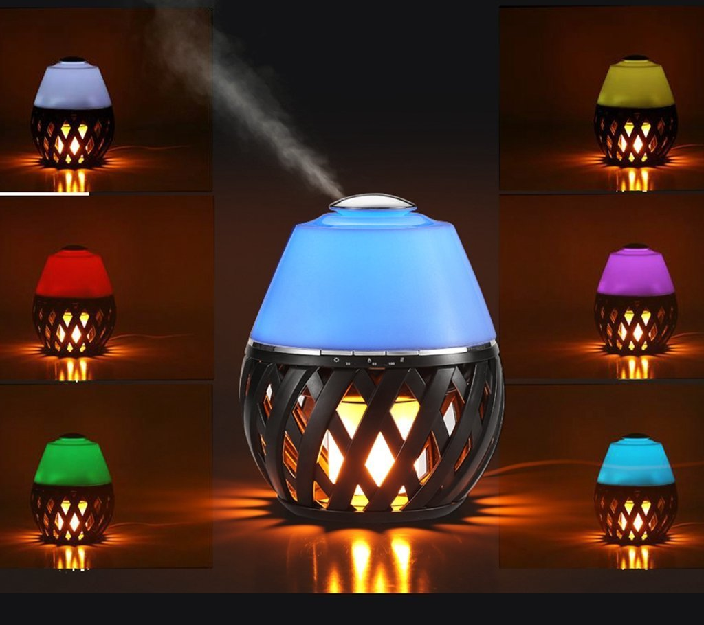 Sumaote LED Flame Lamp Aroma Diffuser, Torch Atmosphere Light With LED Flicker Yellow Dancing Light & Aroma Diffuser 150ml Humidifier Oil Diffuser with Timing Function for Spa Bedroom Babyroom
