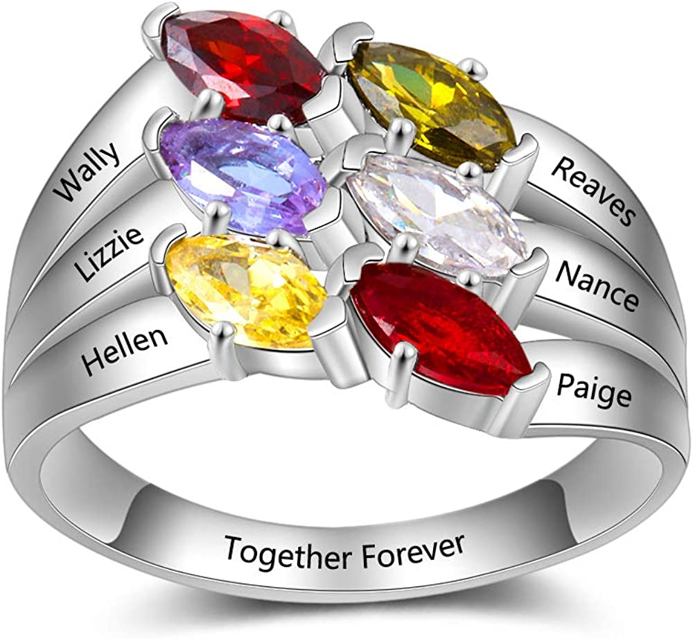OPALSTOCK Personalized Mother Rings with 6 Simulated Birthstones for Mom Grandmother Engraved Name Rings Anniversary Rings for Mothers Day