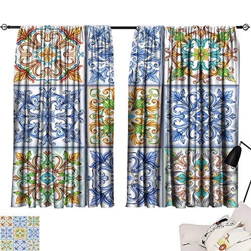 Hariiuet Long Curtains Watercolor Illustration Abstract Seamless Background Vintage Pattern Medieval Acanthus Mosaic Ceramic Tile Ornament Kaleidoscope patchwork1 72