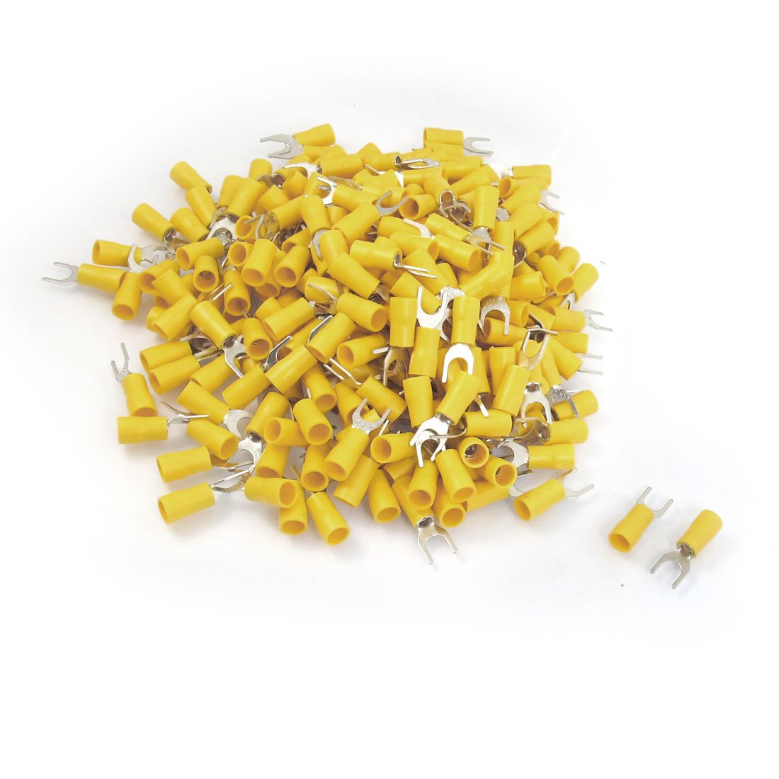 uxcell 12-10 AWG Yellow PVC Sleeve Insulating Fork Terminals Connector 500 Pcs