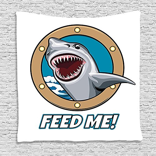 SCOCICI Supersoft Fleece Throw Blanket Sea Animal Decor Funny Vintage Quote with Hungry Hound Shark Head in Ship (Hungry Shark Xbox)