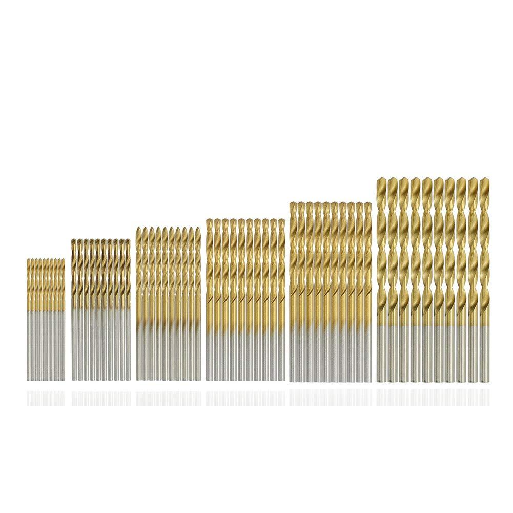 SAIYU 60pcs HSS Micro Drill Bit Set 1/1.5/2/2.5/3/3.5mm Twist Drill Bits Titanium Metal Twist Drill Bit Set Tools for Wood Plastic and Aluminum