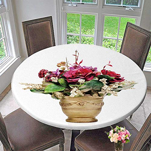 Luxury Round Table Cloth for Home use Flower Bouquet from Artificial Flowers Arrangement Centerpiece for Buffet Table, Holiday Dinner 47.5