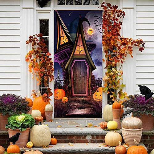 QJXX Castle with Luminous Moon Glow in The Dark DIY Poster Door Mural Sticker Removable Halloween Party Decor (77200Cm/30.378.7Inch)