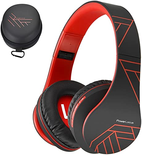PowerLocus Bluetooth Over-Ear Headphones, Wireless Stereo Foldable Headphones Wireless and Wired Headsets with Built-in Mic, Micro SD TF, FM for iPhone Samsung iPad PC Black Red