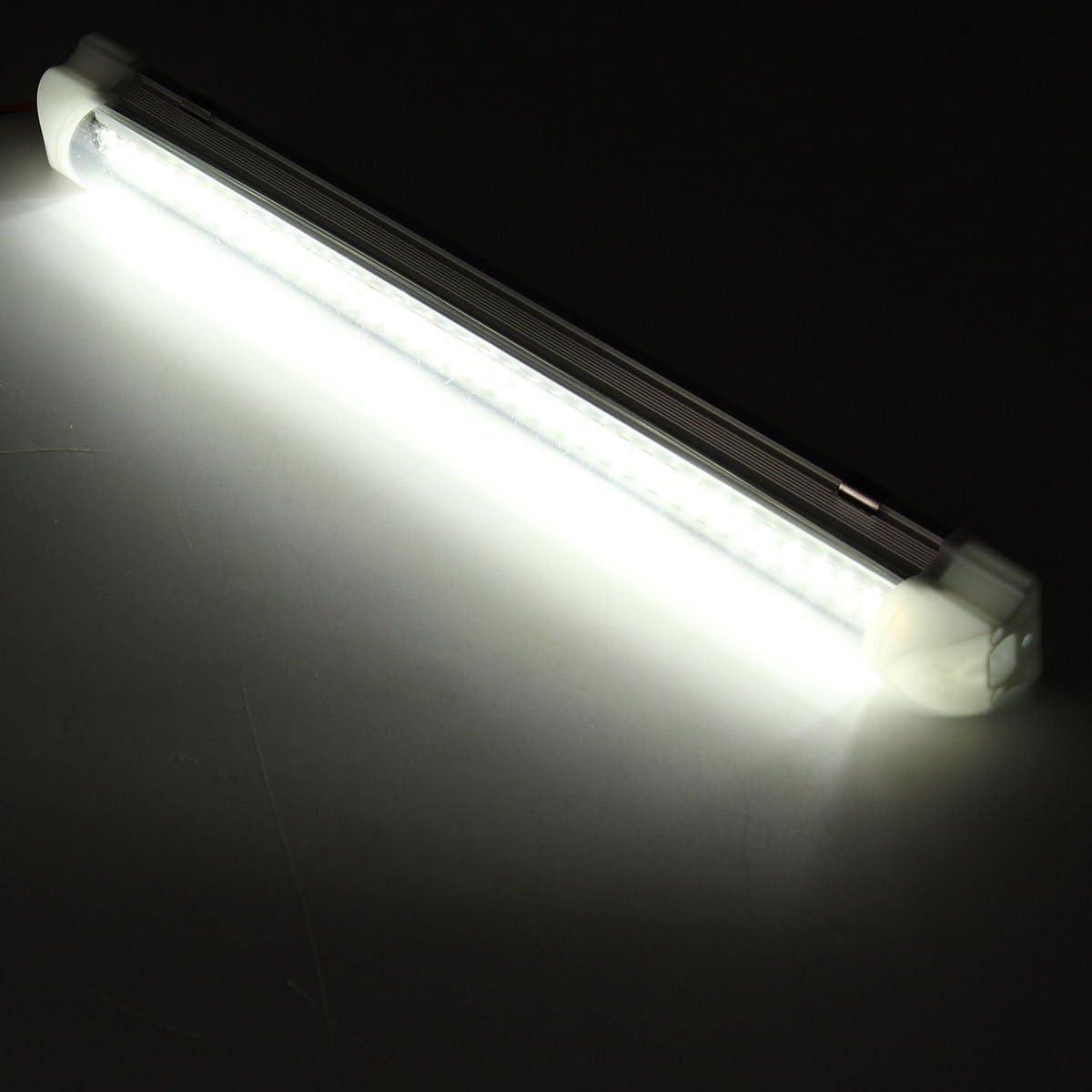 AUDEW LED 12V Interior LED Light Bar White Strip Light 340mm 12V 4.5W 72 LED Car Interior Light Strip for Van Bus Caravan with On / Off Switch (2 Pcs): Automotive