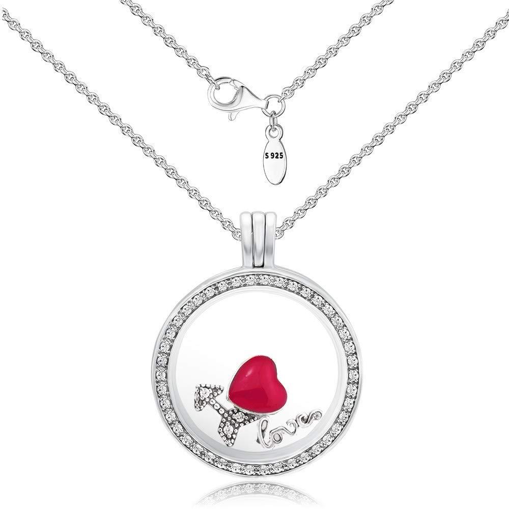 CKK Sterling Silver Necklace with Transparent Locket Maker I Love You for DIY Floating Locket Pendant Medium Necklace (Large)