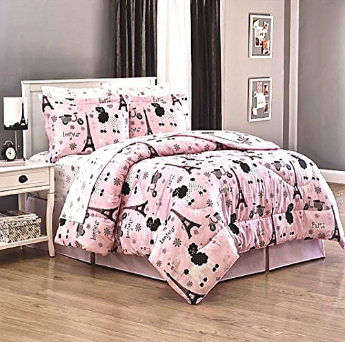 Girls PINK PARIS EIFFEL TOWER French Poodle Vespa Scooters & Polka Dots 8pc QUEEN size Comforter & Sheet Set