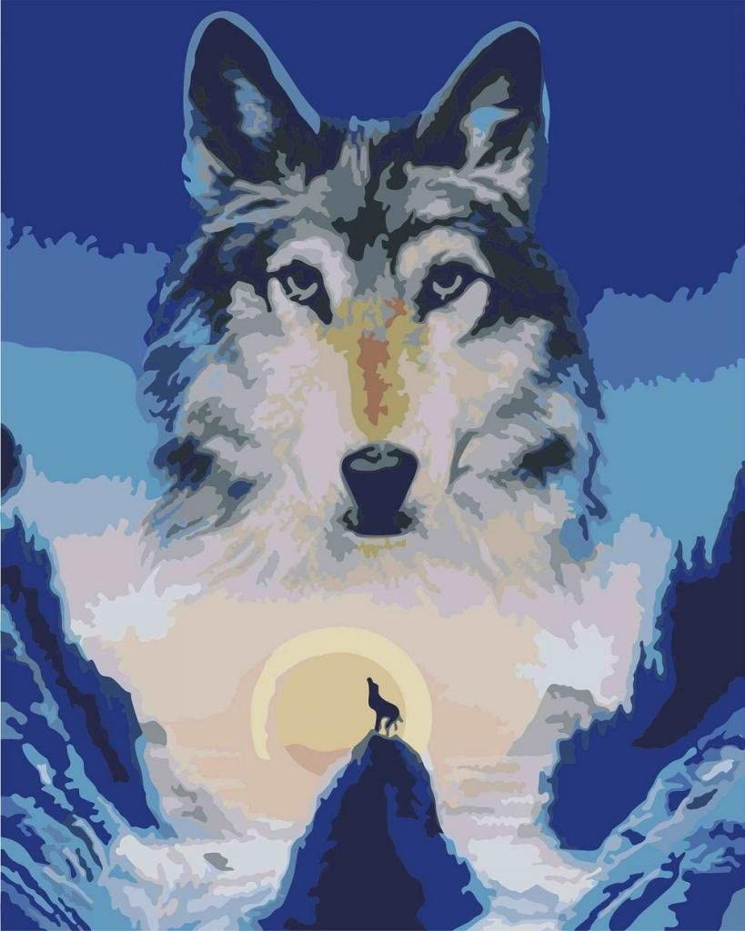 Spirit Wolf Animal Scenery Canvas Picture Oil DIY Paint Set by Numbers Kits Gift