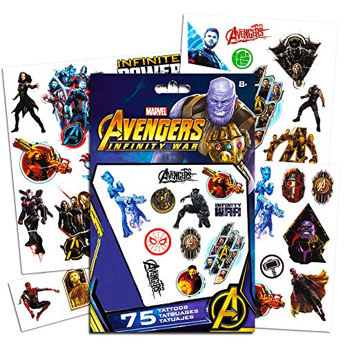 Marvel Avengers Temporary Tattoos Party Set (75) -- Avengers Infinity War Tattoos Featuring Iron Man, Thor, Hulk, Captain America and More (Includes Separately Licensed -