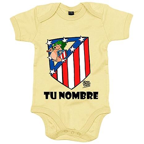 Body bebé Atlético de Madrid El Escudo del Atleti clásico personalizable  con nombre - Amarillo 72fb250cb50c1