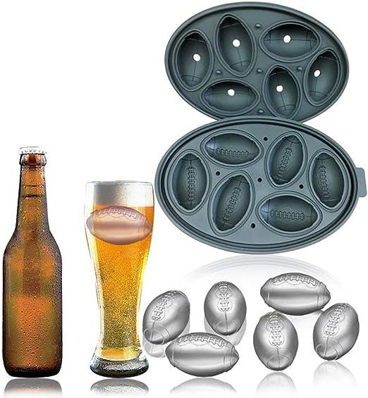 Tinaa Bac /à Gla/çons Rigolo en Silicone avec Couvercle-Forme De Rugby-pour Whisky Et Autres Boissons