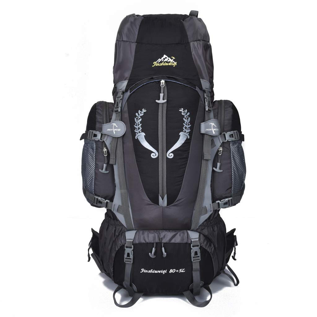 登山バックパックアウトドアトラベルバッグ大容量防水トラベルバッグ通気性ナイロンハイキングキャンプ男性と女性のバックパック  black B07R9JWCDY