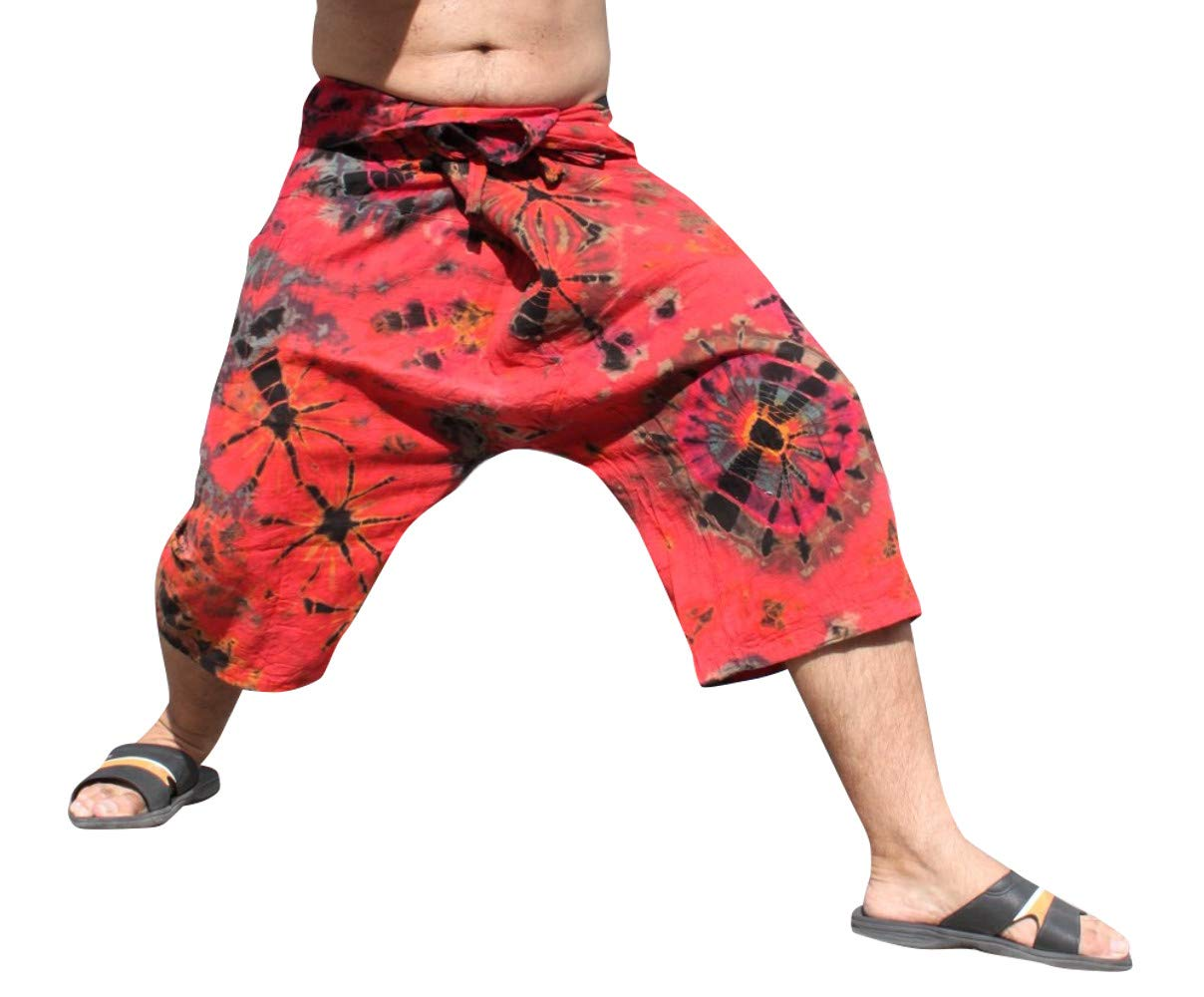 Full Funk Cotton Tie Dyed Natural Colorful Thai Fisherman Wrap 3/4 Leg Pants, Small, Indian Red by Full Funk