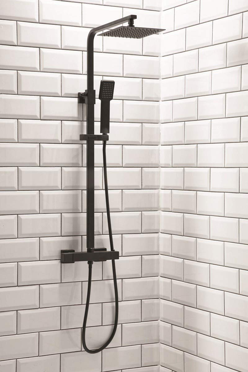 Black Square Thermostatic Shower with Fixed Head and Diverter Scudo