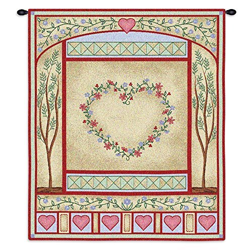 Pure Country Weavers - Love Quilt Wedding Sampler Pastel Hand Finished European Style Jacquard Woven Wall Tapestry. USA Size 32x26