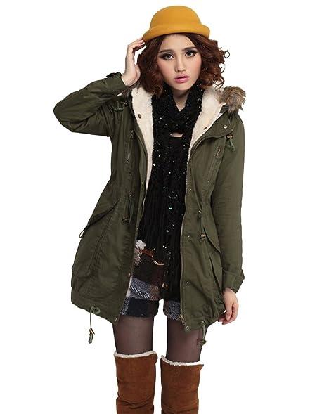 VonFon Womens Winter Warm Thicken Fleece Jacket Hooded Parka Coat ...