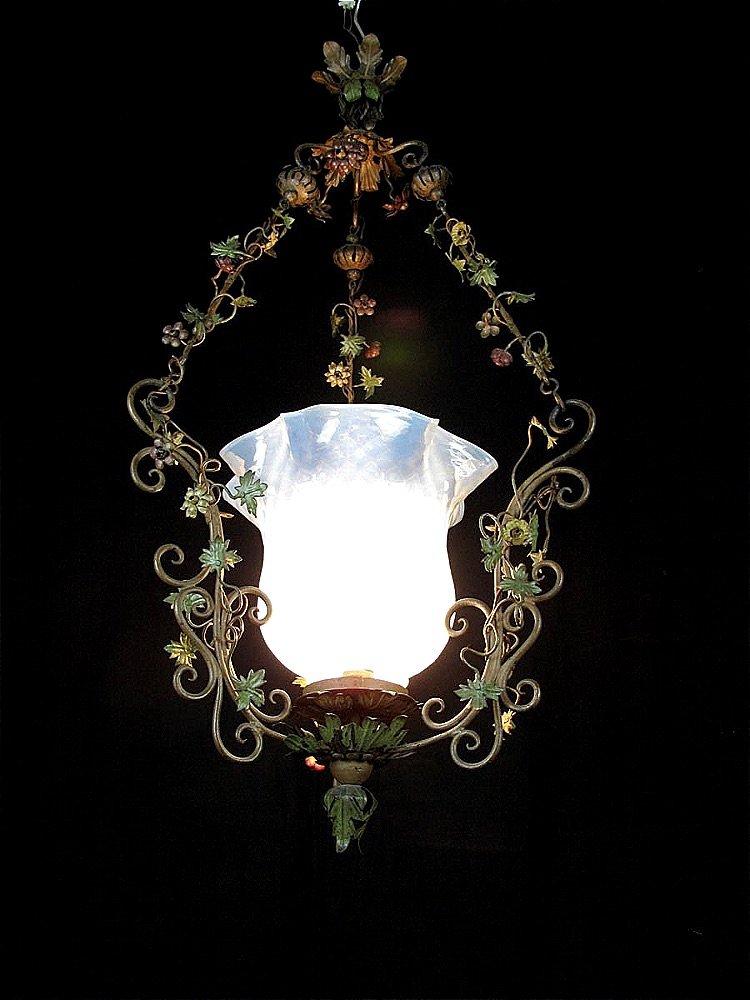 Lanterna Liberty in Ferro e Vetro, Lanterna per Esterno, Illuminazione e Decorazione con Fiori